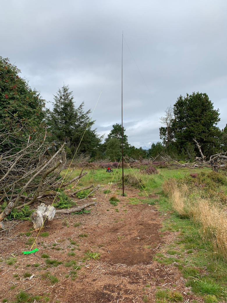 HF antenna set up on Elrick Hill, Aberdeen